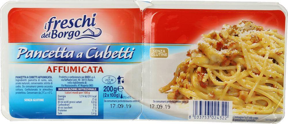 Pancetta Affum. Cubetti Freschi d Borgo 100 g x 2