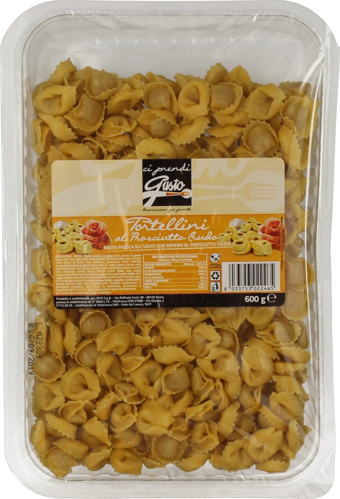 Pasta Fr.Tortellini Prosc.Crudo Ci Prendigusto600g