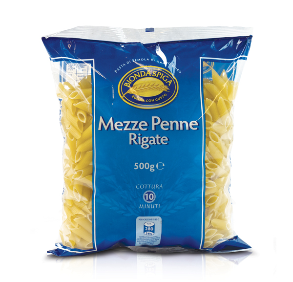 Pasta di Semola Mezze Penne Rig. Bionda Spiga 500g