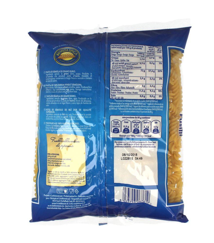 Pasta di Semola Fusilli Bionda Spiga 500 g