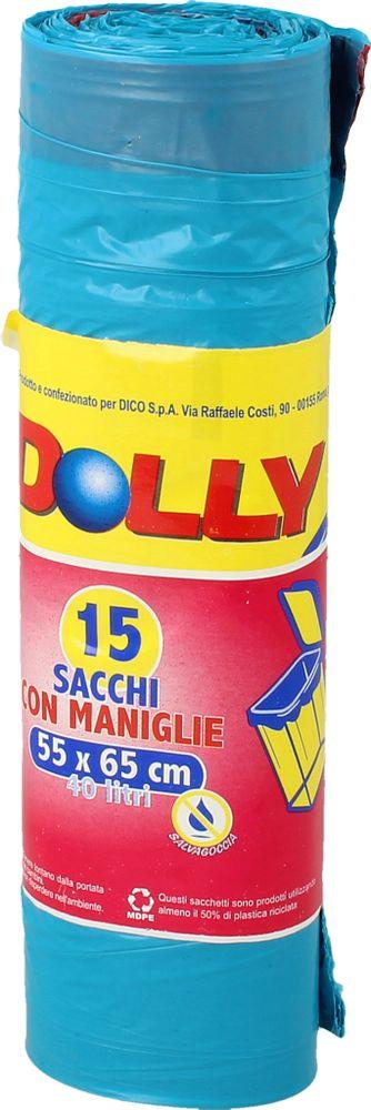 Sacchi Spazz.C/manici Azzurri 55x65 40l Dolly 15pz