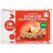 Carrefour Classic Uova Fresche da Galline Allevate a Terra Categoria a Medie x