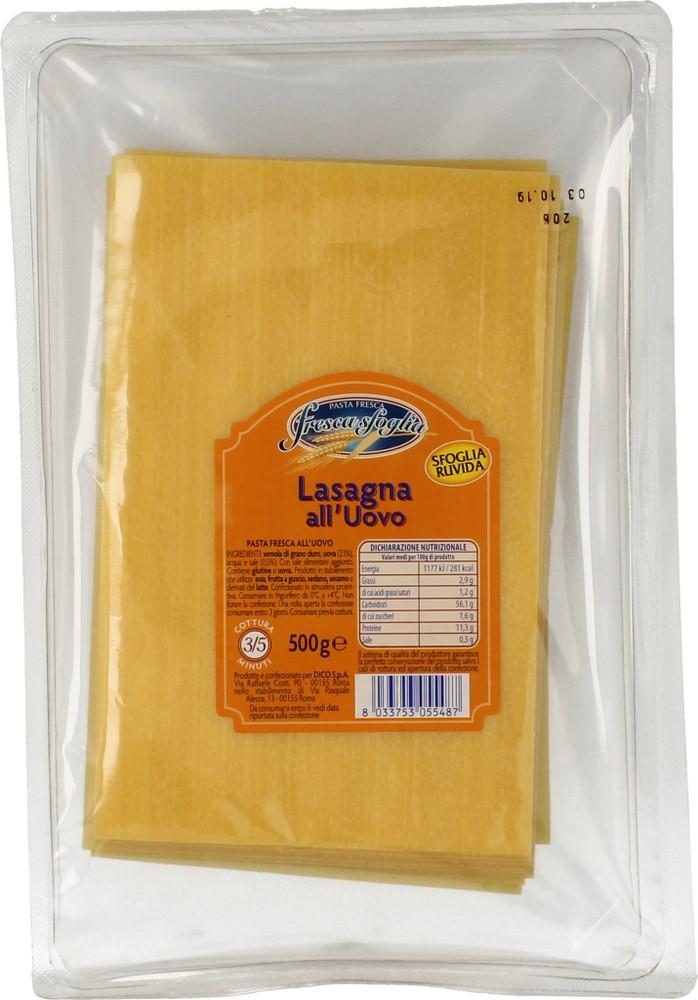 Pasta Fr Uovo Lasagne Fresca Sfoglia 500 g
