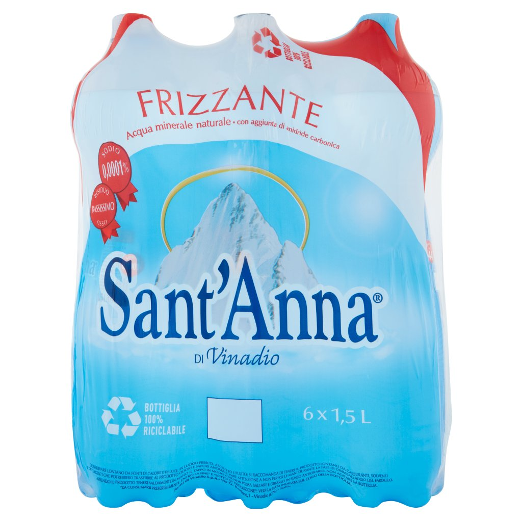 Sant'anna Di Vinadio Frizzante 6 x 1,5 l Imballaggio 6 Bottiglie Da 1,5 L 1