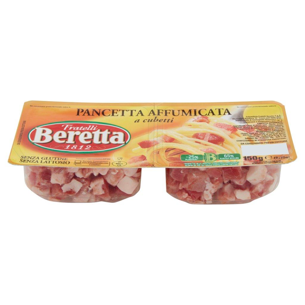 Fratelli Beretta Pancetta Affumicata a Cubetti 2 x 75 g Vaschetta 150 G