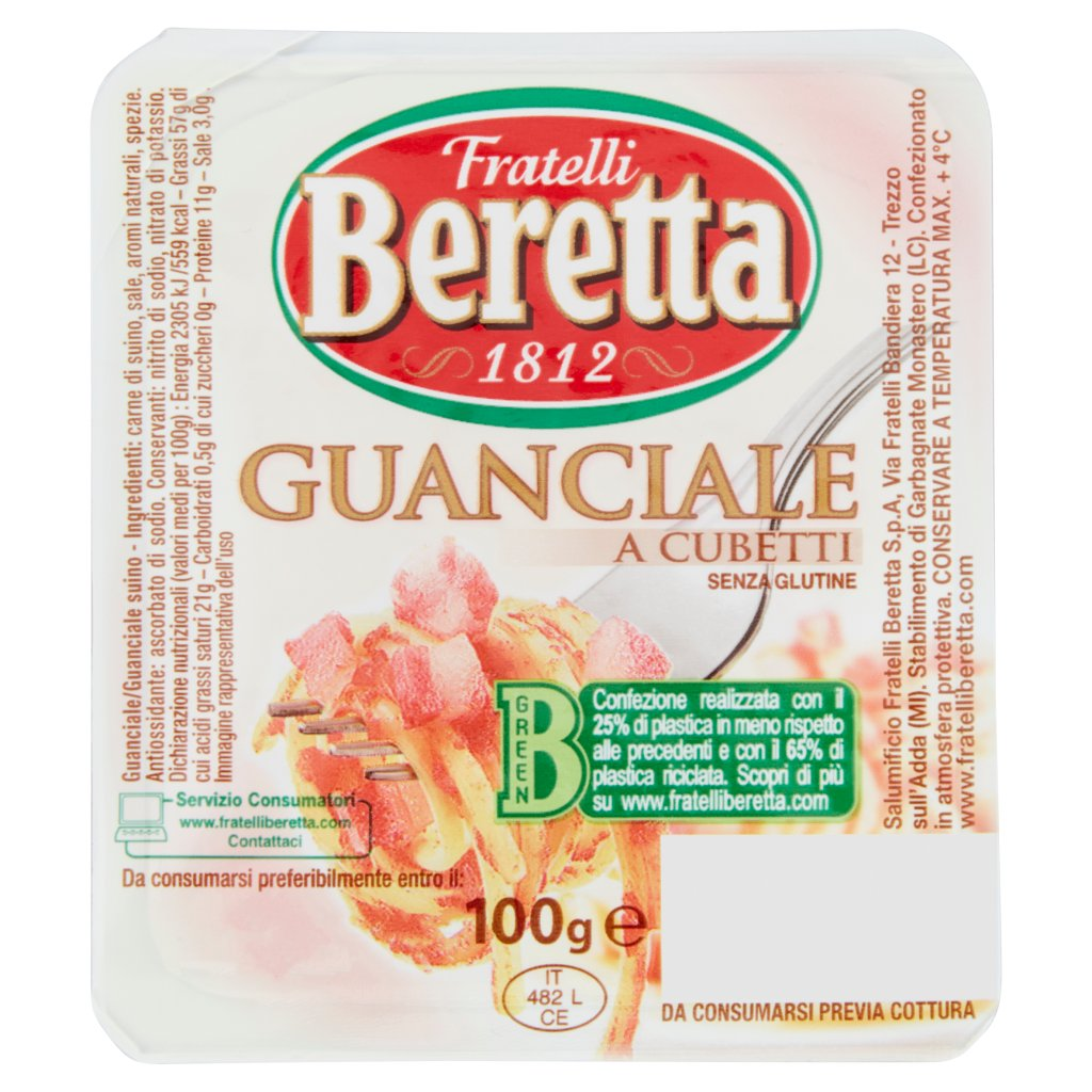 Fratelli Beretta Guanciale a Cubetti Vaschetta 100 G 1