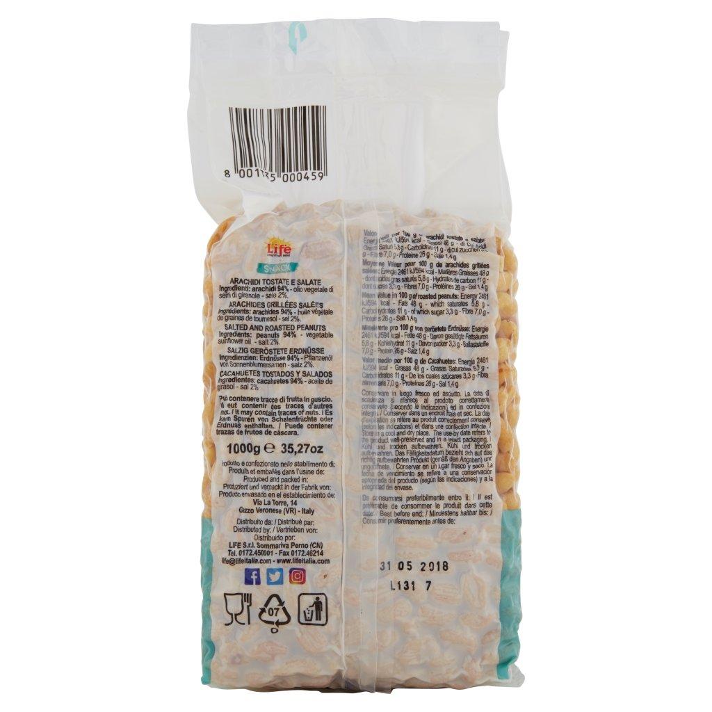 Life Snack Arachidi Tostate e Salate Confezione 1000 G 2
