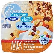 Bene.sì Senza Lattosio Mix Cremoso Yogurt Intero Fior di Latte con Cereali e Biscotti al Cioccolato