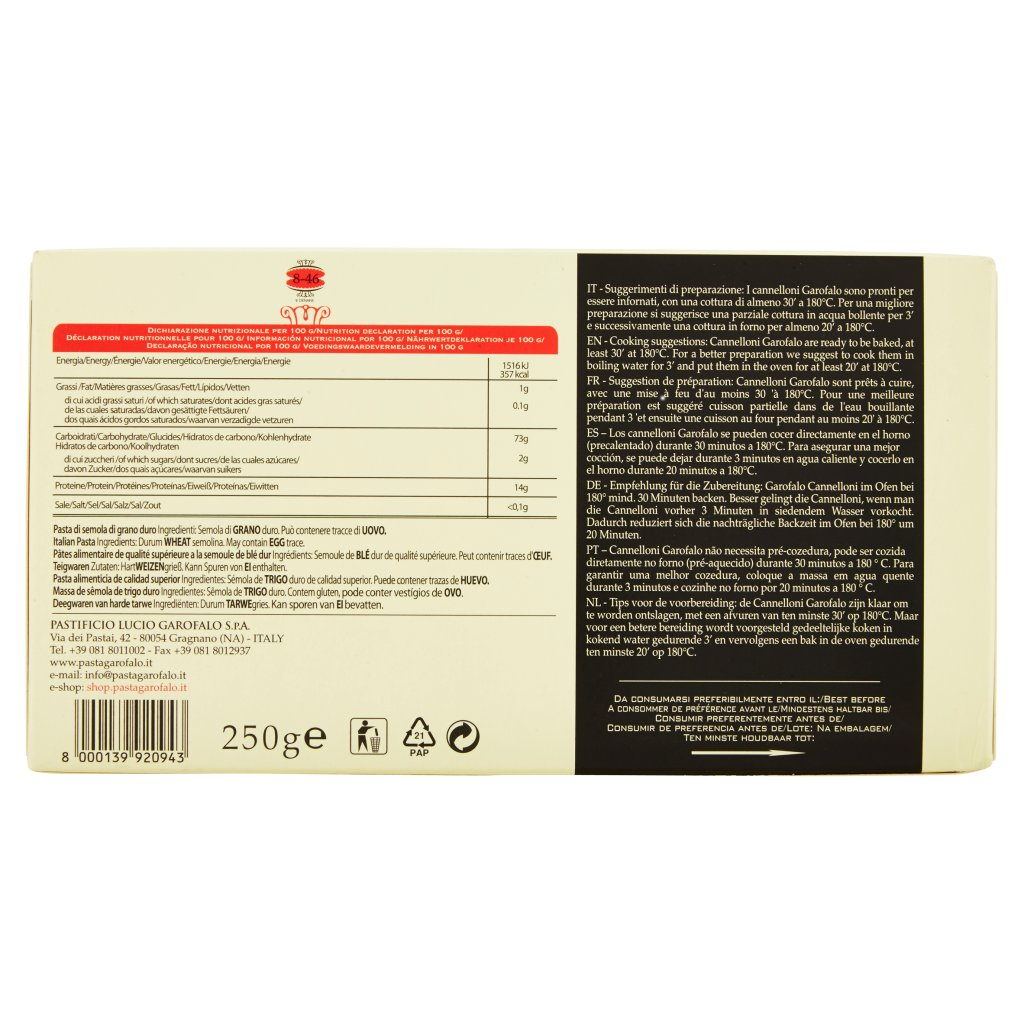 Garofalo Cannelloni N° 8-46 500 g