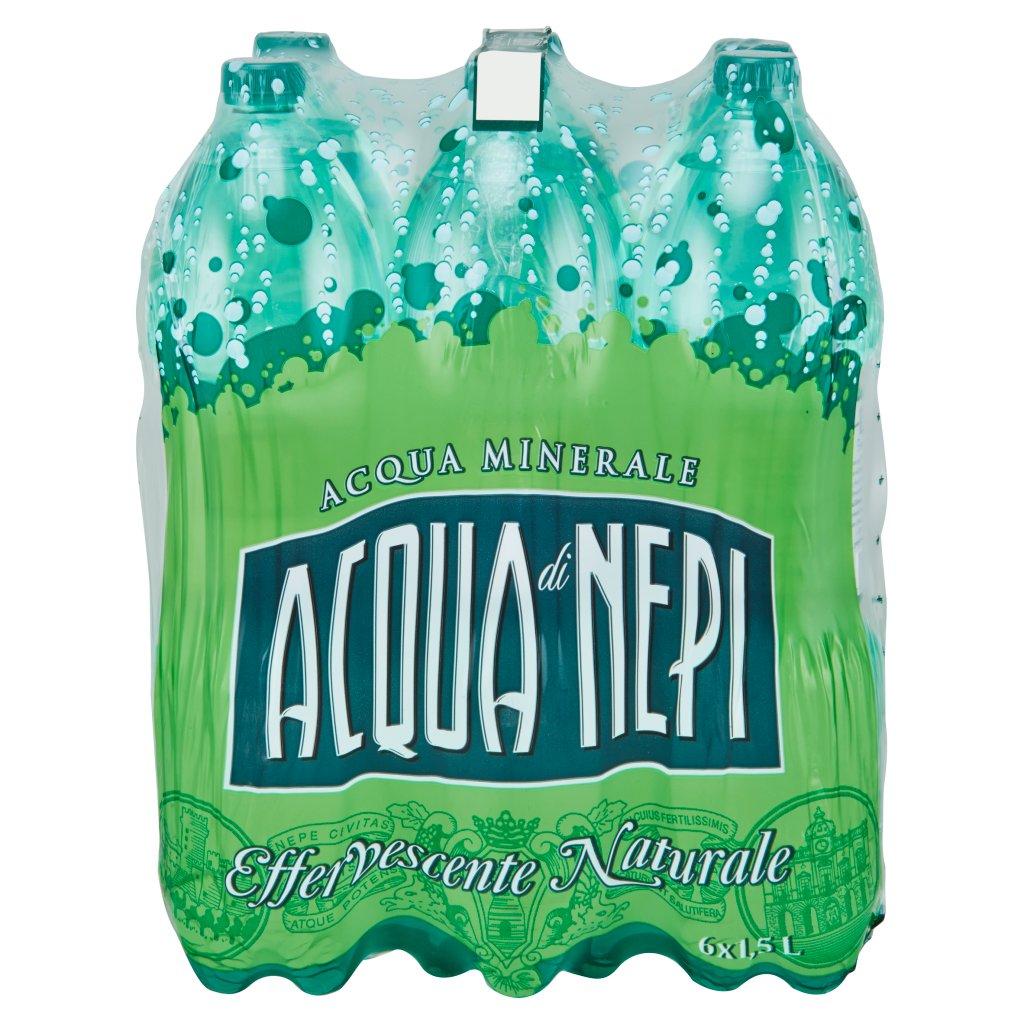 Acqua di Nepi Acqua Minerale Effervescente Naturale Pet 6 x 1,5 l Imballaggio 6 Bottiglie Da 1,5 L