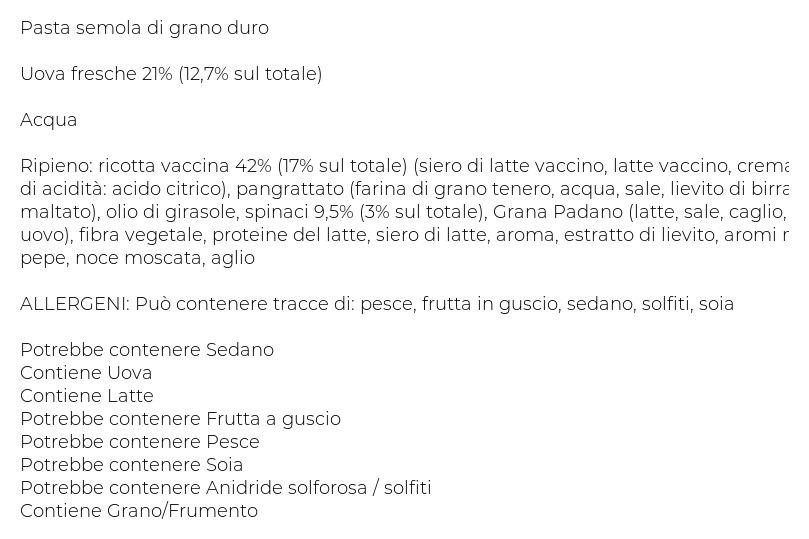 Divella Pasta Fresca all'Uovo Ripiena Tortelloni con Ricotta e Spinaci