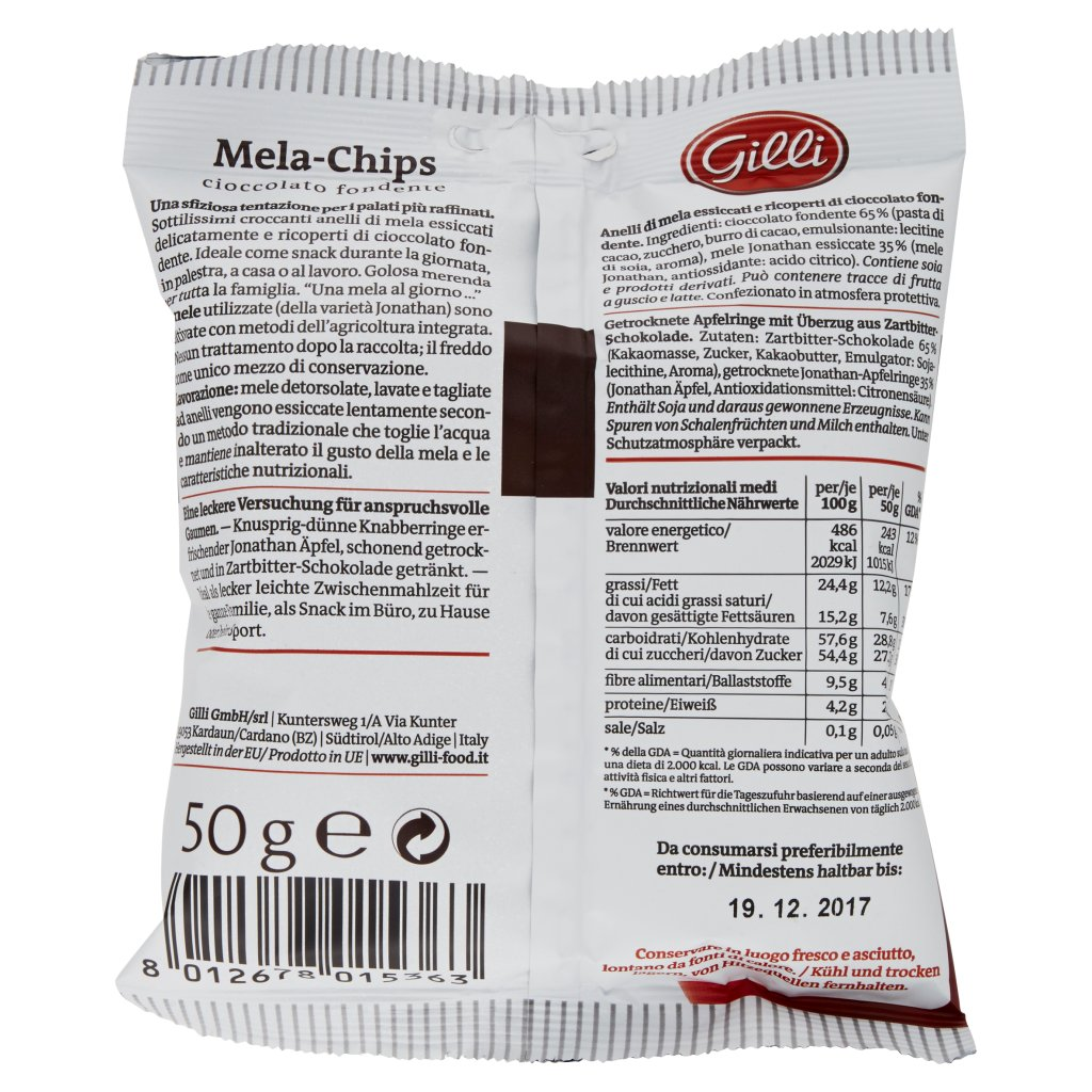 Gilli Mela-chips Anelli di Mela Ricoperti di Cioccolato Fondente