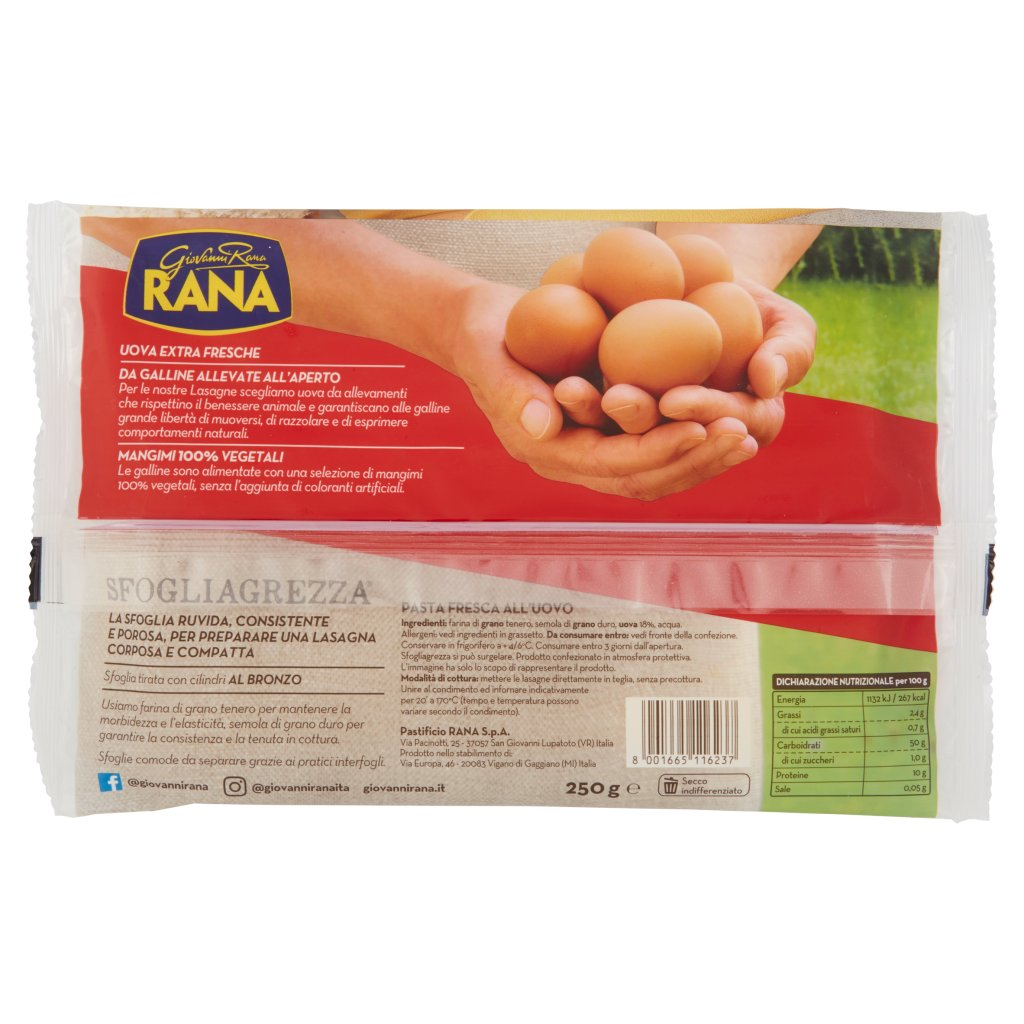 Giovanni Rana Sfogliagrezza Lasagne Fresche all'Uovo 6 Sfoglie