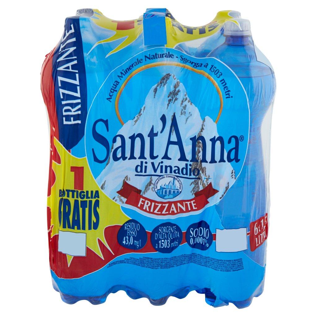 Sant'anna Frizzante Sorgente Vinadio 6 x 1,5 Litri Imballaggio 6 Bottiglie Da 1,5 L
