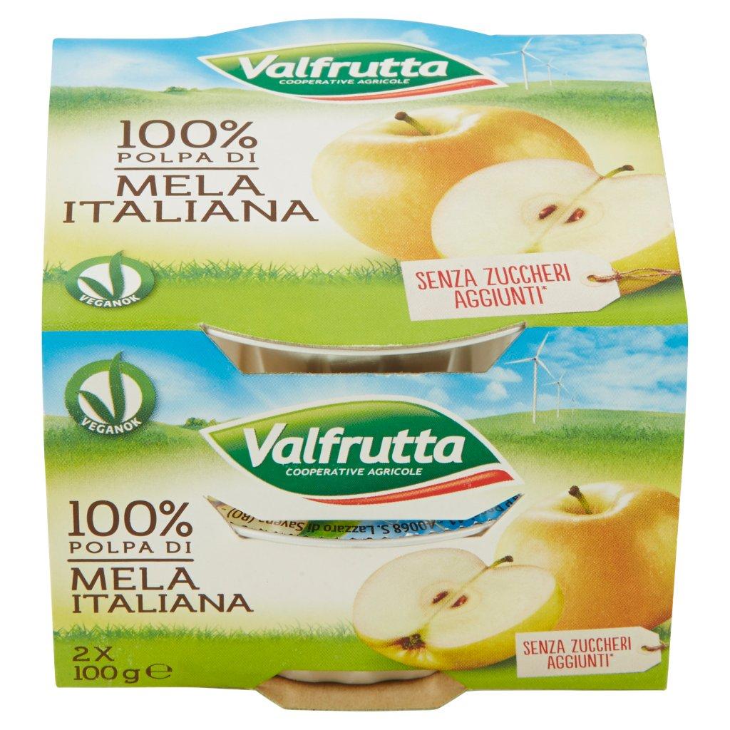 Valfrutta 100% Polpa di Mela Italiana 2 x 100 g Confezione 200 G