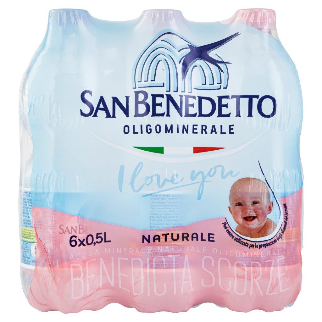 San Benedetto Acqua Minerale Benedicta Naturale 6 x 0,5 l Imballaggio 6 Bottiglie Da 0,5 L 1