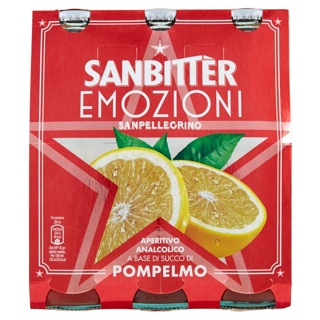Sanbittèr Sanbitter Emozioni Pompelmo, Aperitivo Analcolico 20cl x 3
