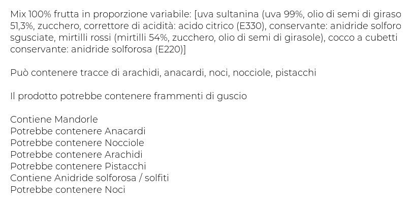 Valfrutta Frutta e Vai! Student Mix Cocco, Ananas, Mandorle, Mirtilli Rossi, Uvetta