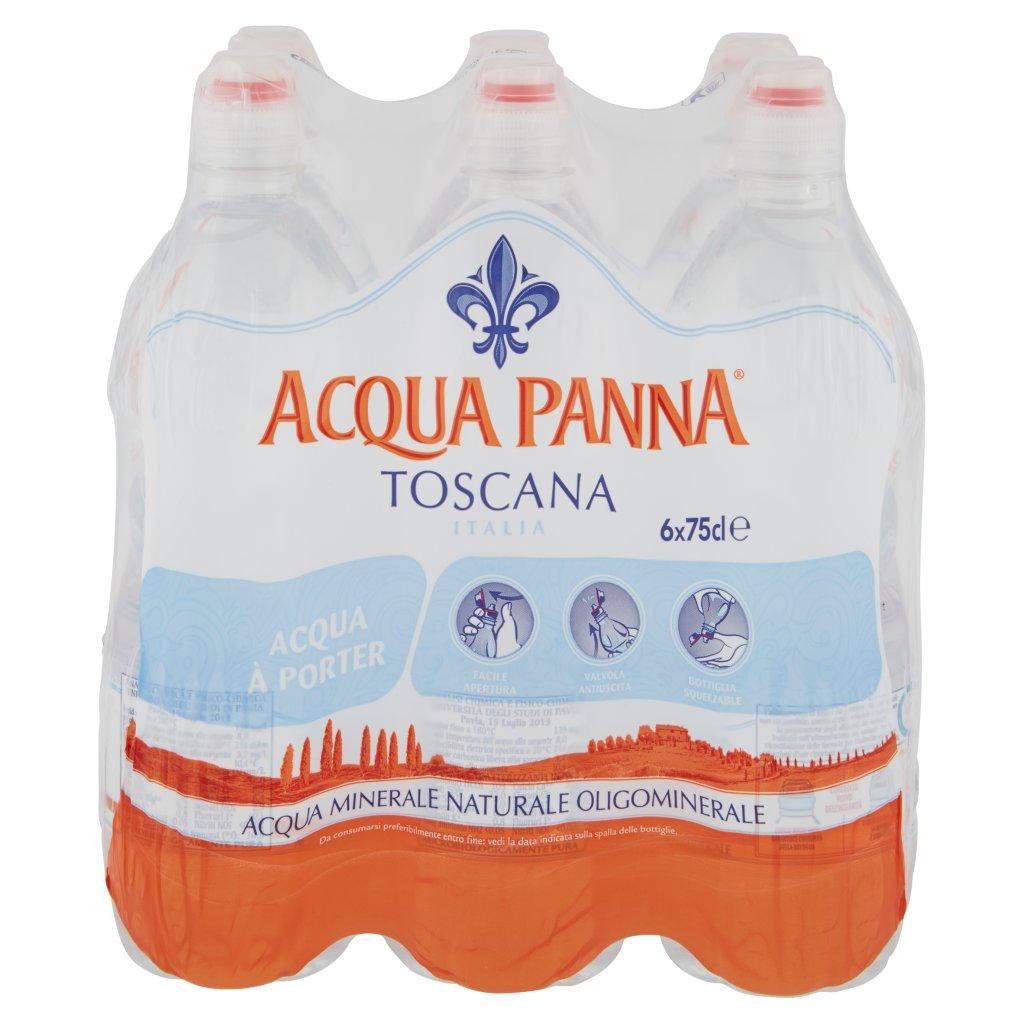 Acqua Panna , Acqua Minerale Oligominerale Naturale 75cl x 6. Imballaggio 6X75Cl