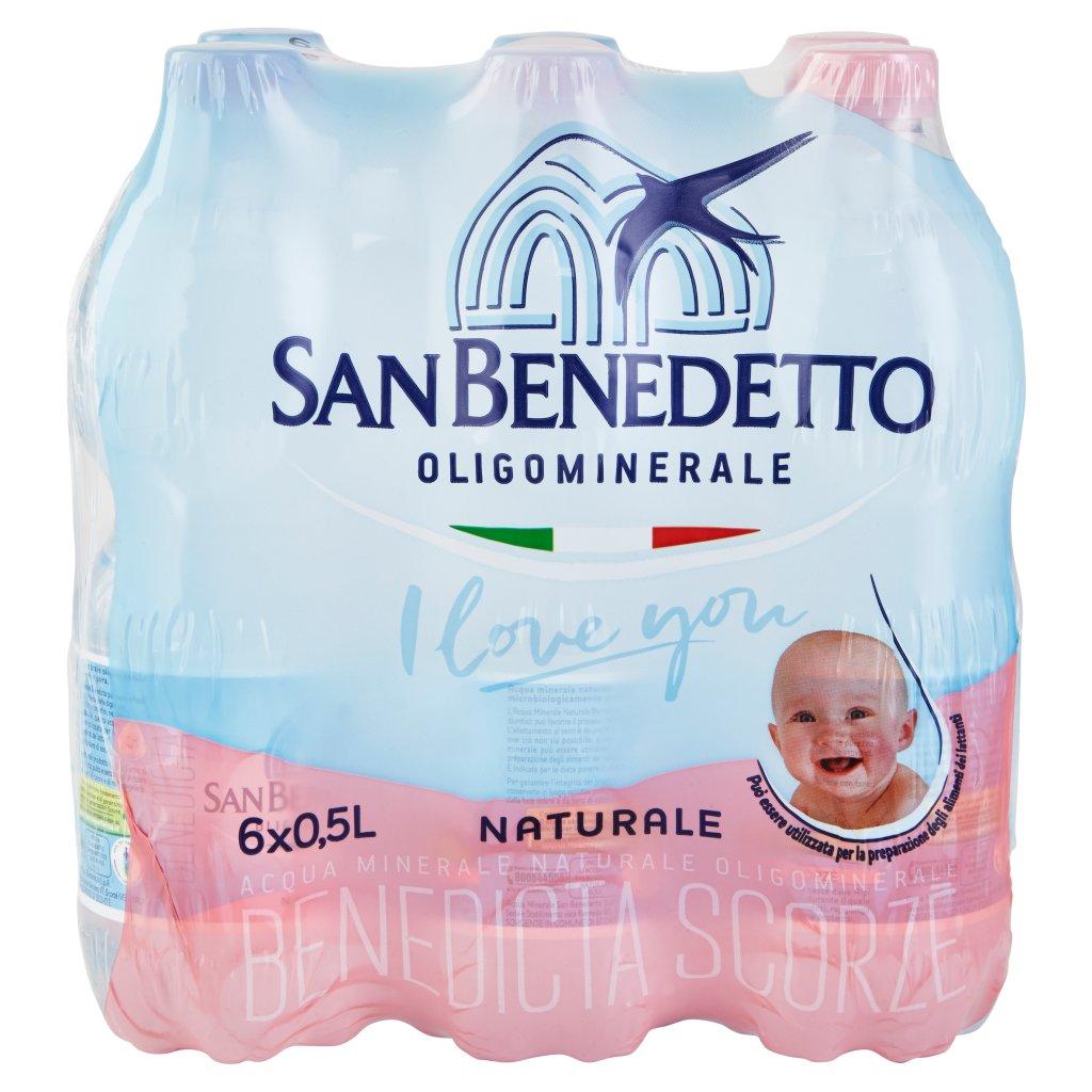 San Benedetto Acqua Minerale Benedicta Naturale 6 x 0,5 l Imballaggio 6 Bottiglie Da 0,5 L