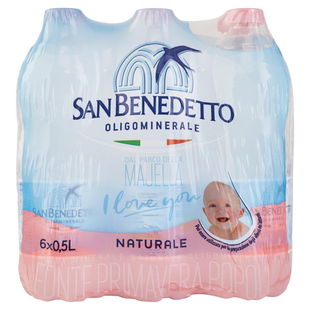 San Benedetto Acqua Minerale dal Parco della Majella Naturale 6 x 0,5 l Imballaggio 6 Bottiglie Da 0,5 L 1