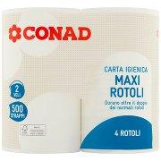 Conad Carta Igienica Maxi Rotoli 2 Veli 500 Strappi