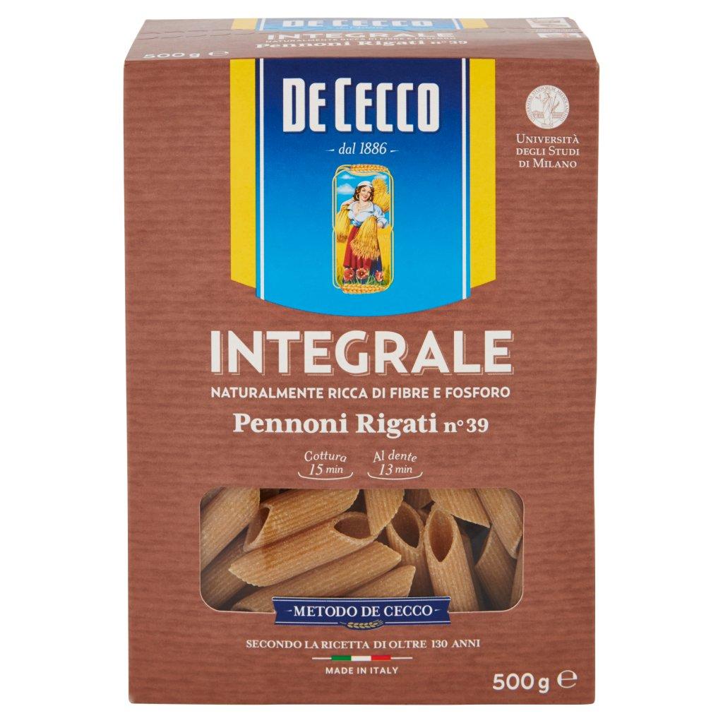 De Cecco Integrale Pennoni Rigati N° 39 Confezione 500 G