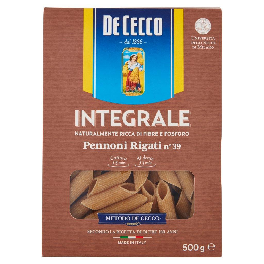 De Cecco Integrale Pennoni Rigati N° 39 Confezione 500 G 1