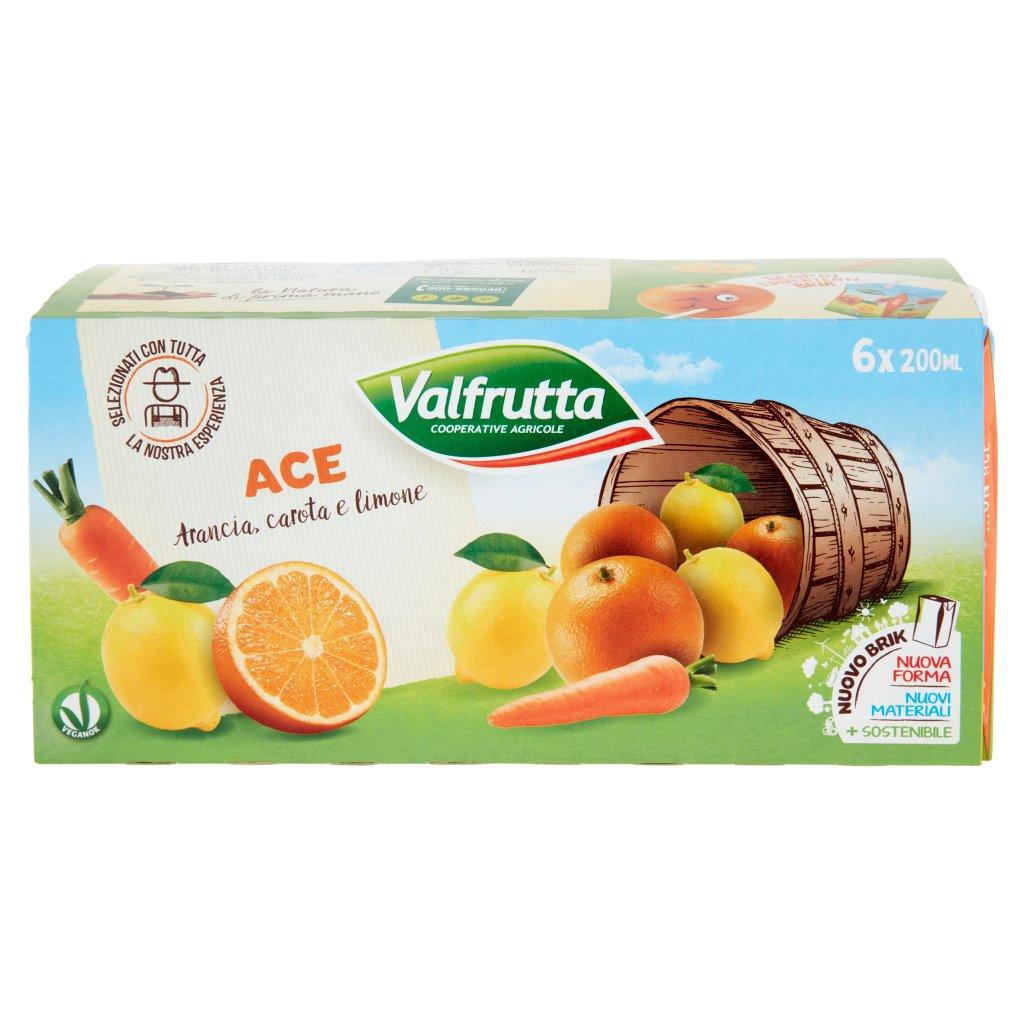Valfrutta Ace Arancia, Carota e Limone 3 x 200 Ml