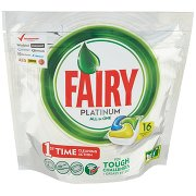 Fairy Platinum Detersivo in Caps per Lavastoviglie, Confezione da 16 Pastiglie, Limone