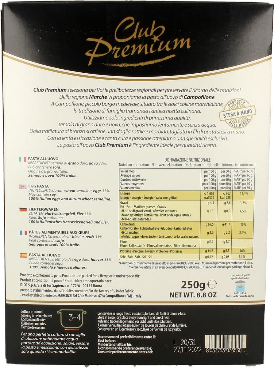 Pasta Secca Uovo Tagliatelle Club Premium 250 g