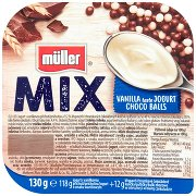 Müller Mix Jogurt o Smaku Waniliowym z Kulkami Zbożowymi w Czekoladzie Mlecznej i Białej